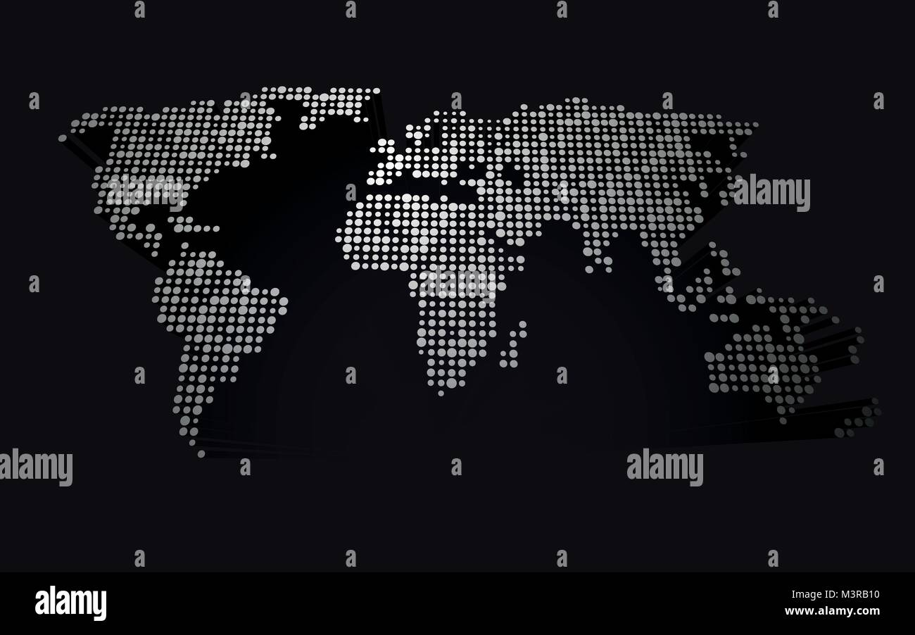 Abstract 3d world map made up of small white dots stock vector art abstract 3d world map made up of small white dots gumiabroncs Image collections