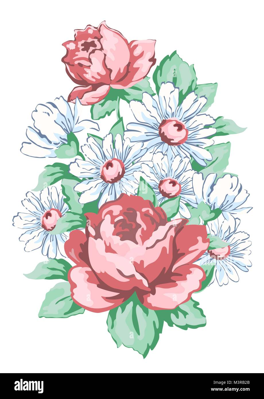 Flowers Hand Drawn Floral Embroidery Design Fabric Print Vector Stock Vector Image Art Alamy