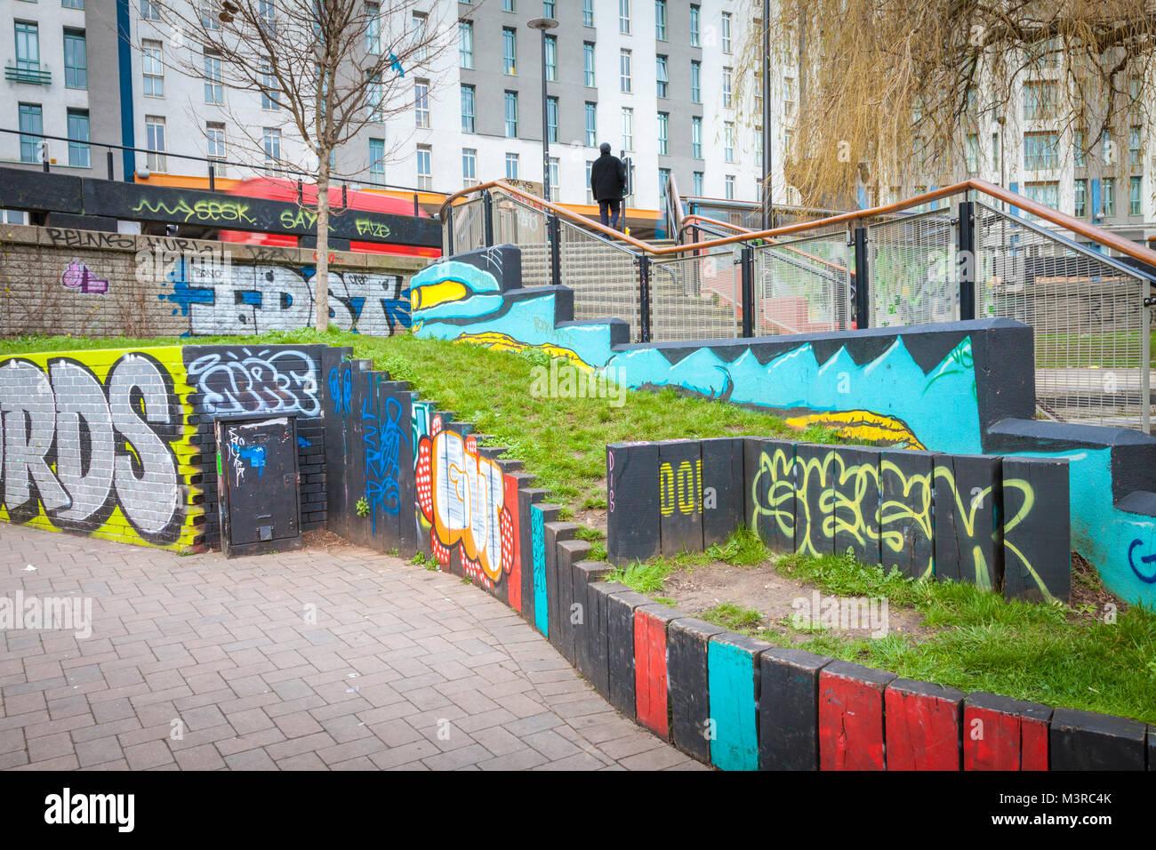 Painted and graffiti walls in Stokes croft bristol uk - Stock Image