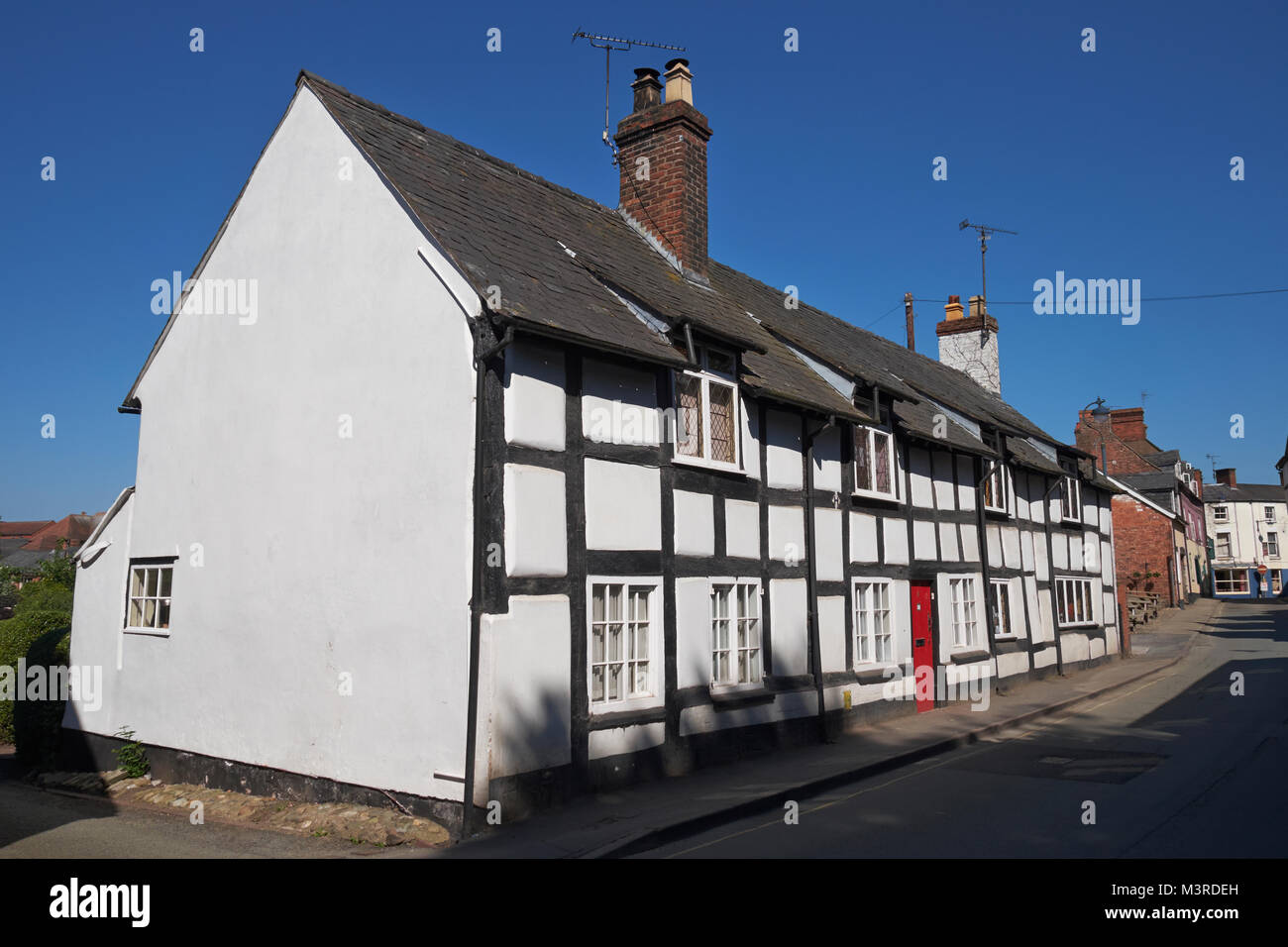 Row of half-timbered cottages at Ellesmere, Shropshire, England, UK. - Stock Image