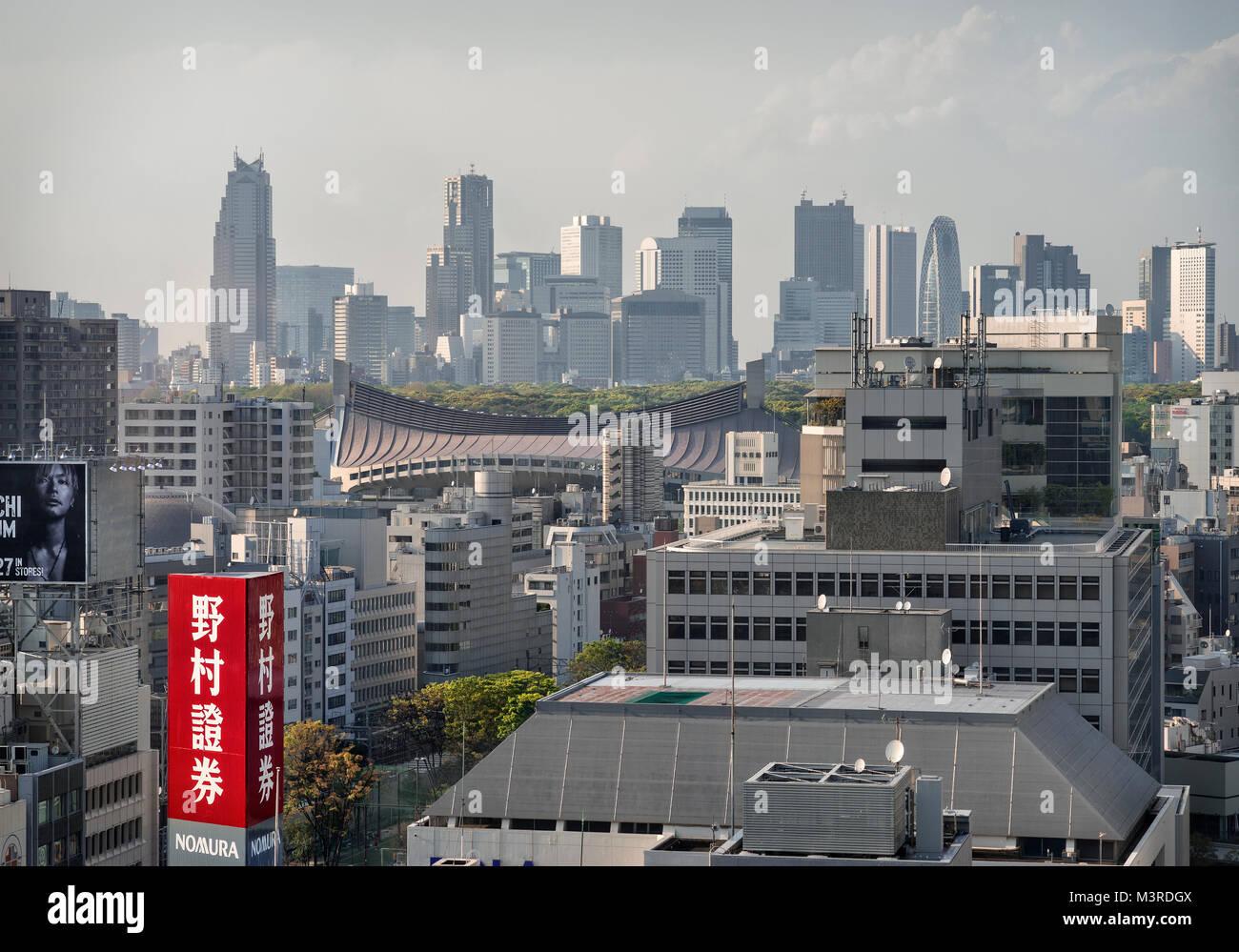 Japan, Honshu island, Kanto, Tokyo, the skyline toward Shinjuku. - Stock Image