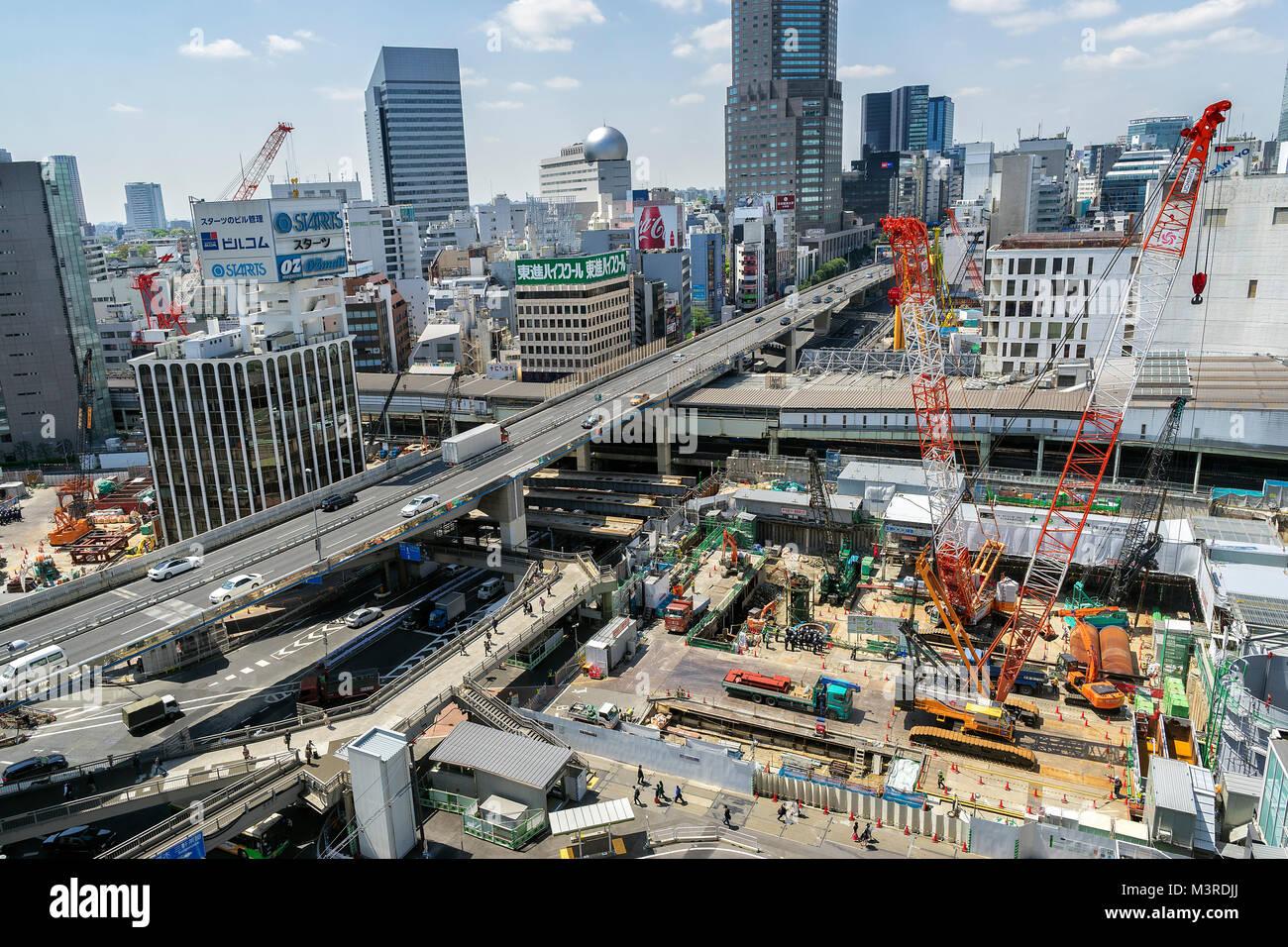 Japan, Honshu island, Kanto, Tokyo, Shibuya, construction site. - Stock Image