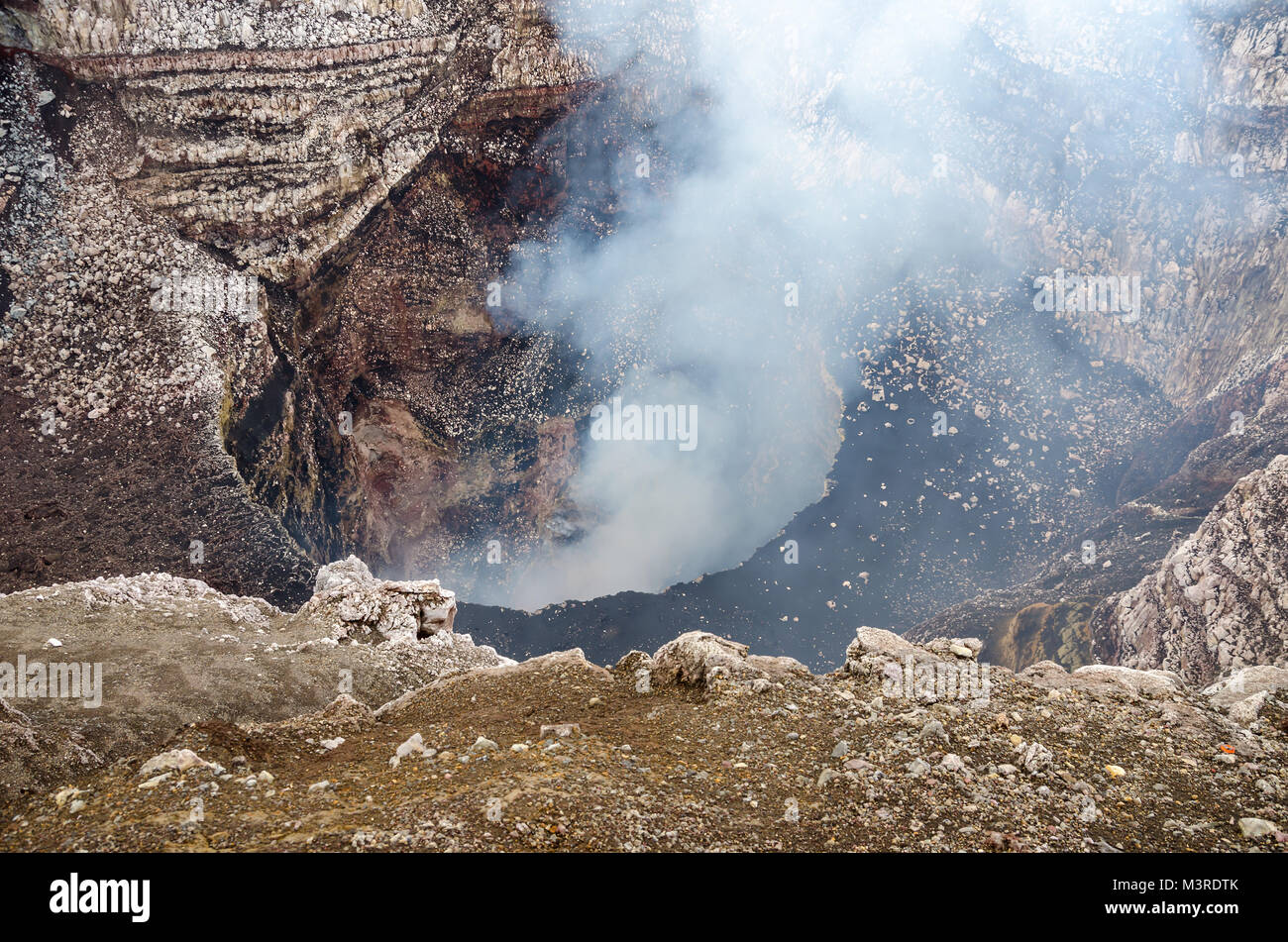 Volcanic activity in the Santiago crater of the volcano Masaya, which continually emits large amounts of sulfur - Stock Image
