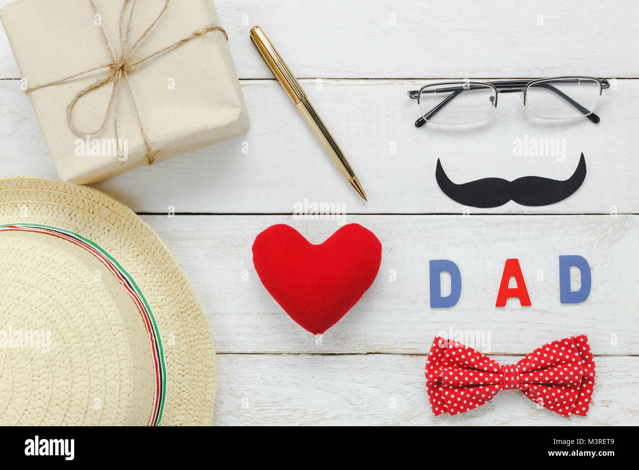 Table top view Happy Fathers day concept .Flat lay of red ...
