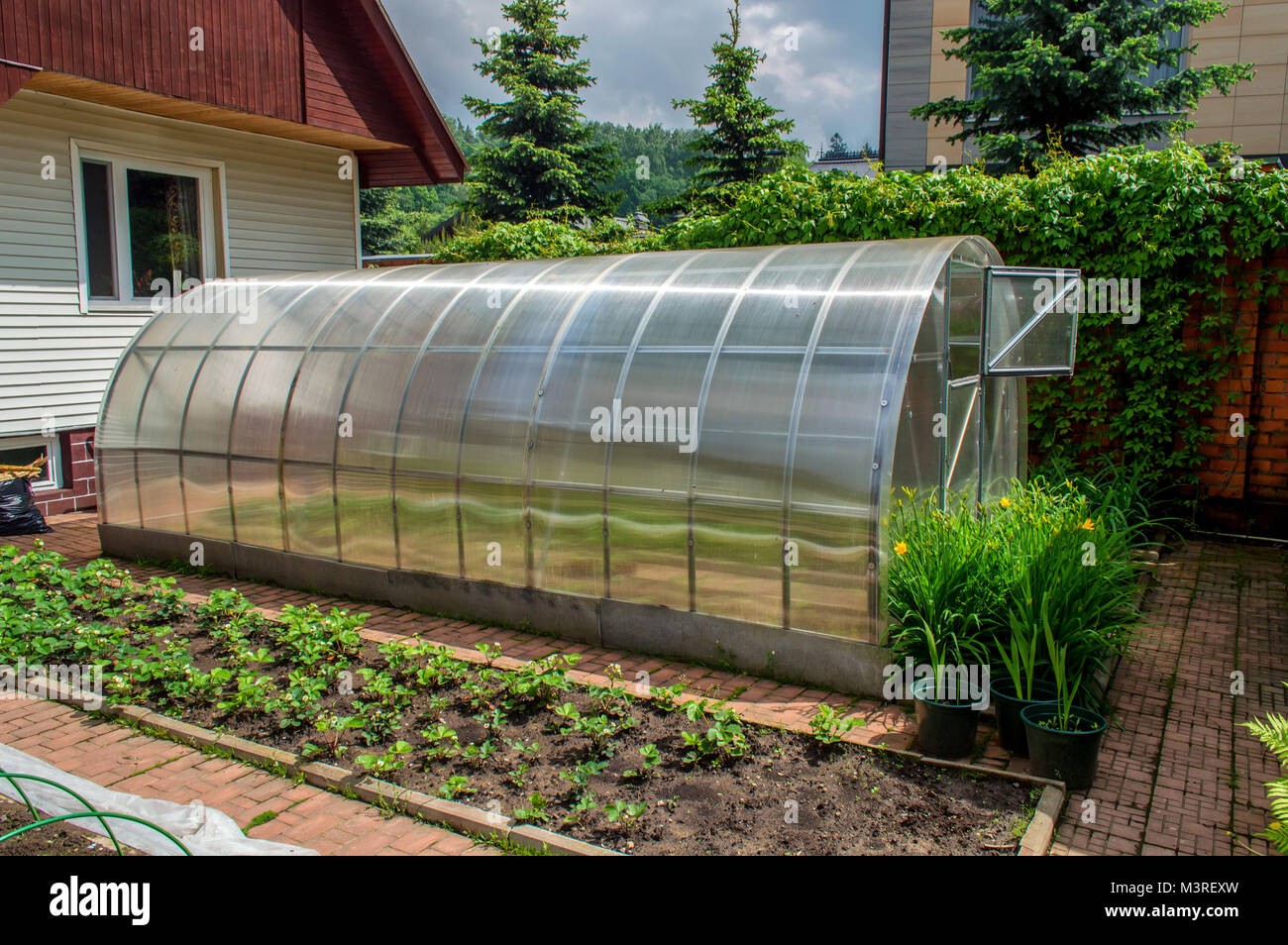 Outstanding Small Garden Greenhouse Stock Photo 174464273 Alamy Home Interior And Landscaping Ologienasavecom