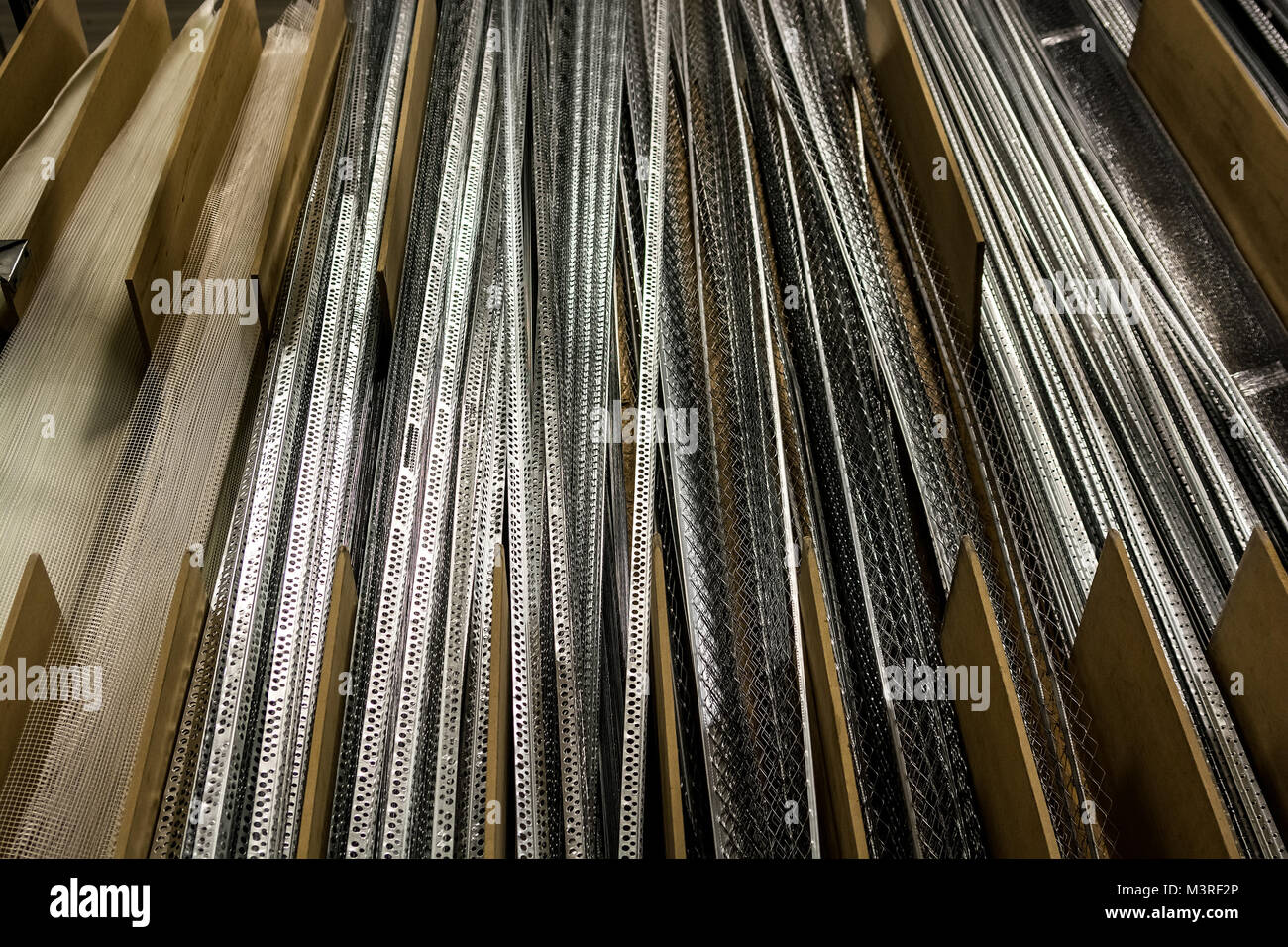 Many perforated corner profiles - Stock Image