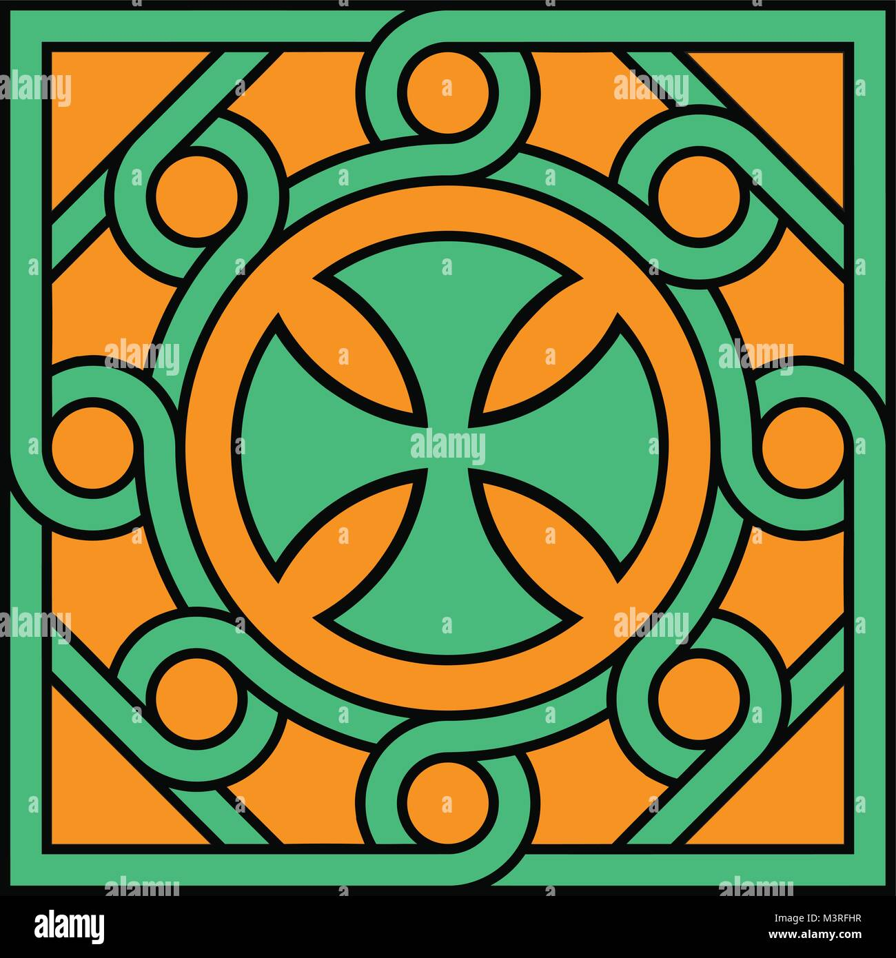 Coptic cross in decorative unit and pattern , High accuracy ,NO.21 - Stock Vector