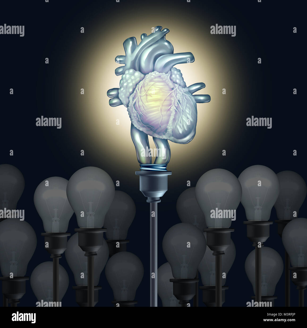 Cardiac research and human heart science and medical discovery concept cardiovascular treatment idea as a medical - Stock Image