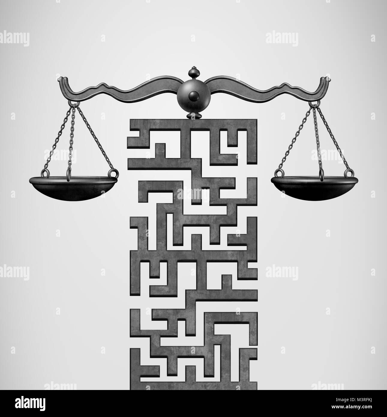 Justice Solution and legal direction concept as a justice scale shaped as a maze or labyrinth as a 3D illustration. - Stock Image