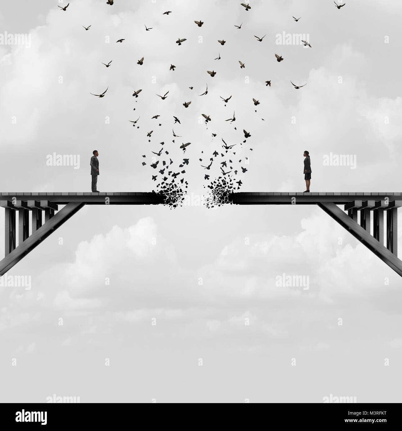 Divorce and separation as a couple on a broken fading bridge flying away as a divided relationship concept with - Stock Image