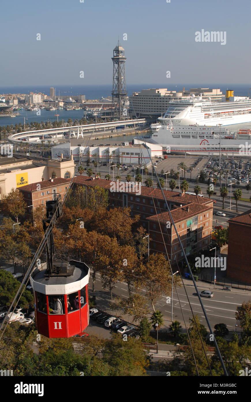 Images of sunny Barcelona, Spain taken in winter: Barcelona's Port - Cable Car- The 'Transbordador Aeri - Stock Image