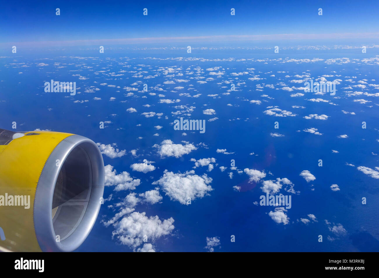 View from window of Vueling Airbus 320 over Spain Stock Photo