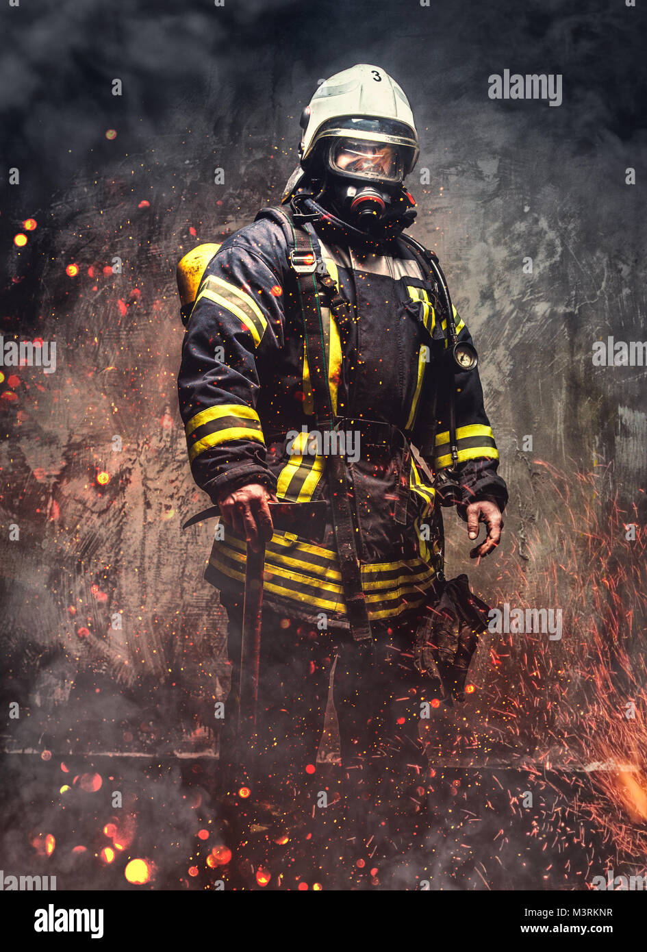 Rescue man in firefighter uniform. - Stock Image