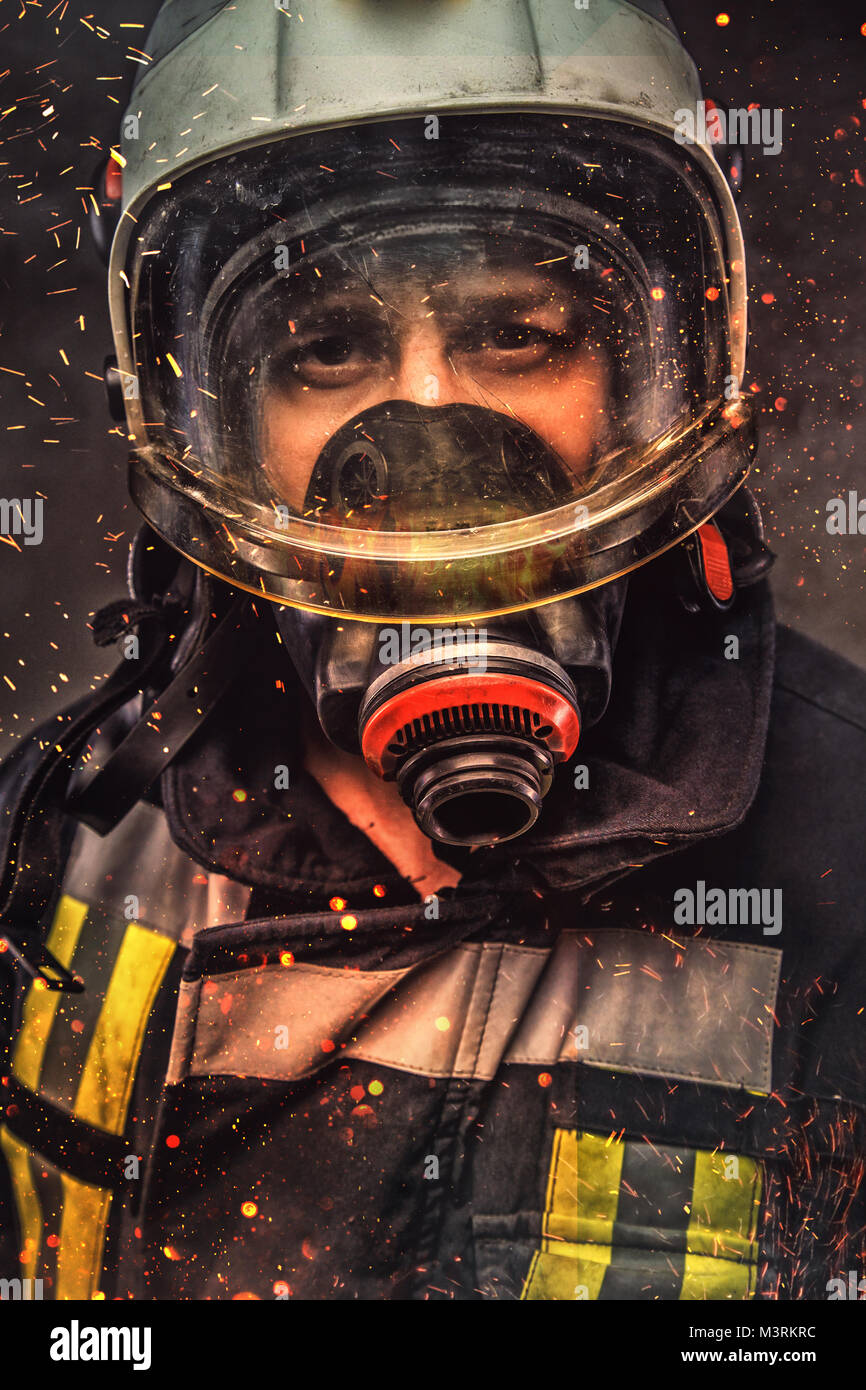 Portrait of firefighter . Concept art - Stock Image