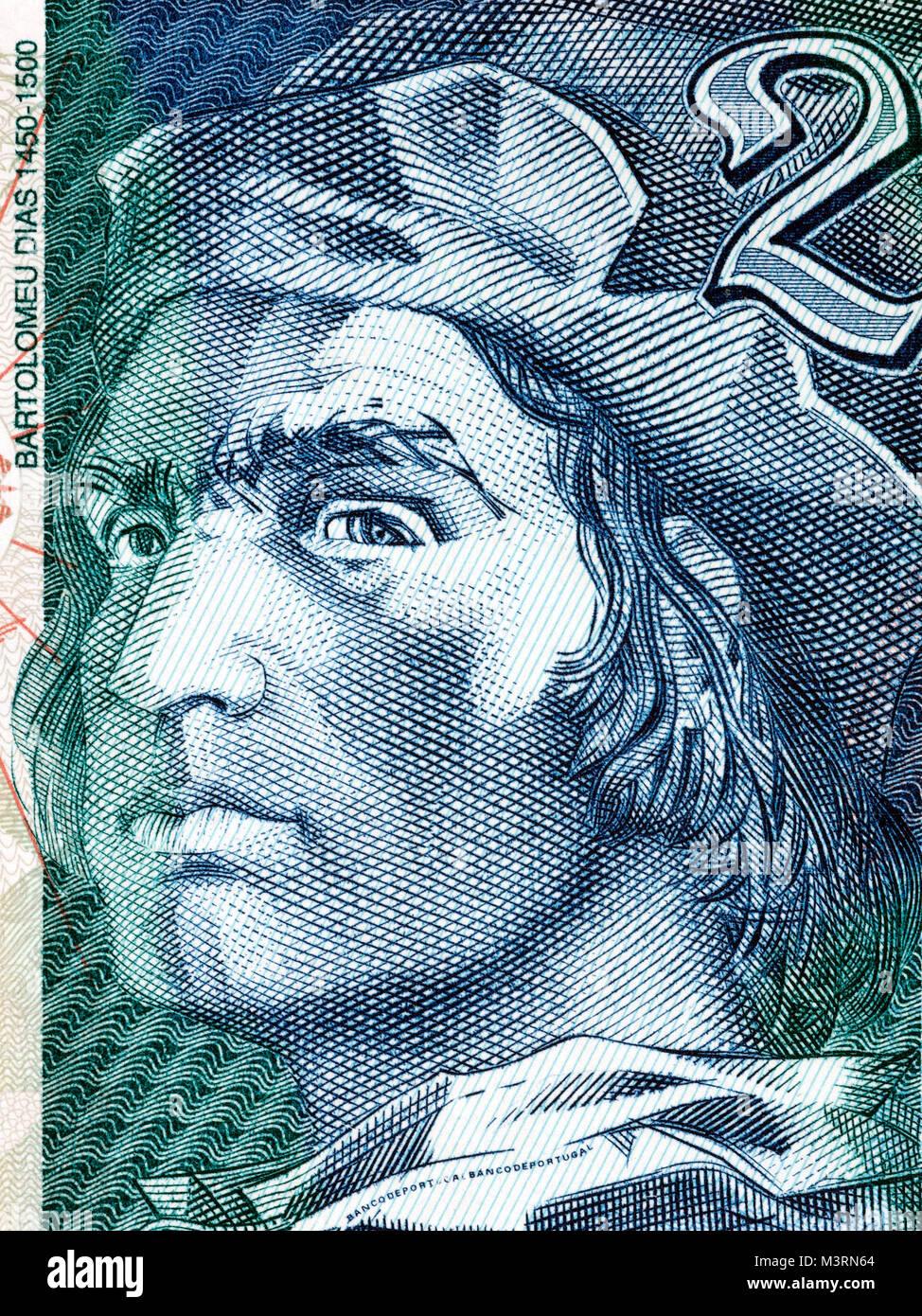 Bartolomeu Dias portrait from Portuguese money - Stock Image