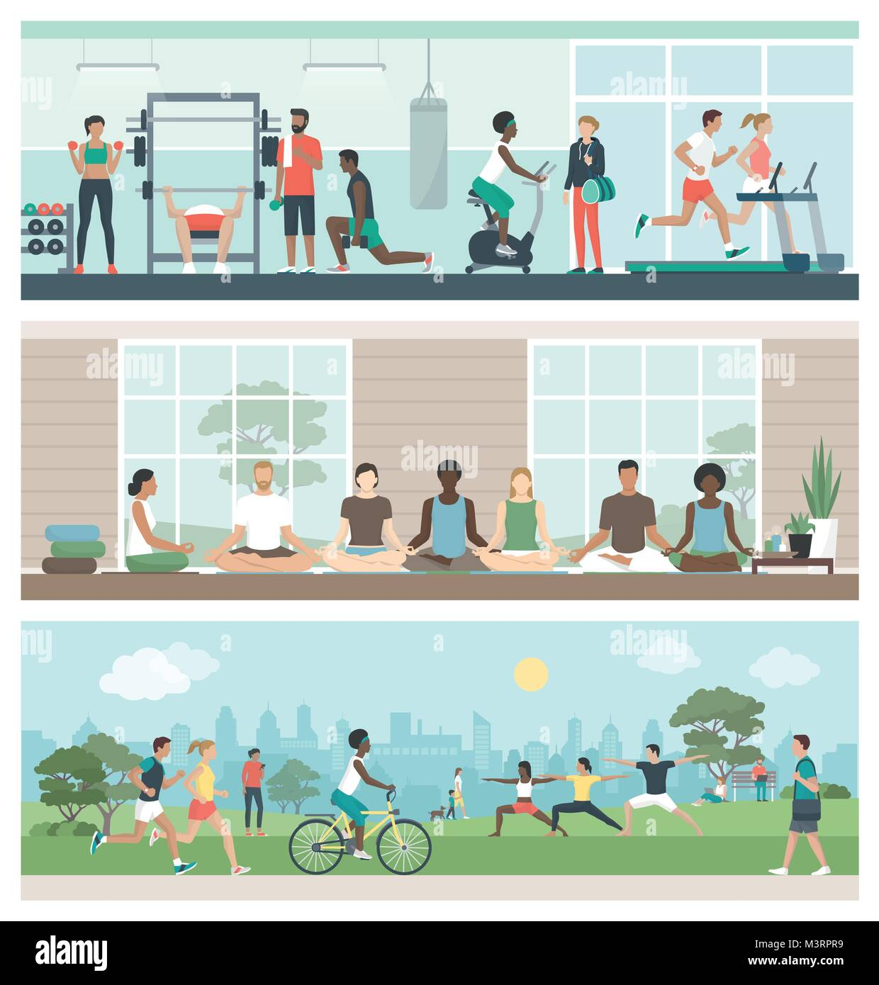 Multiethnic groups of people practicing sports and meditation: they are exercising at the gym, doing yoga and relaxing - Stock Vector