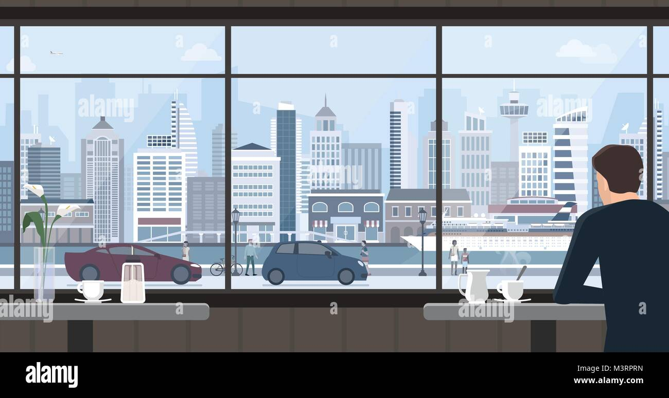 Man relaxing at the cafe, he is having a coffee and staring at the window, city view on the background - Stock Vector