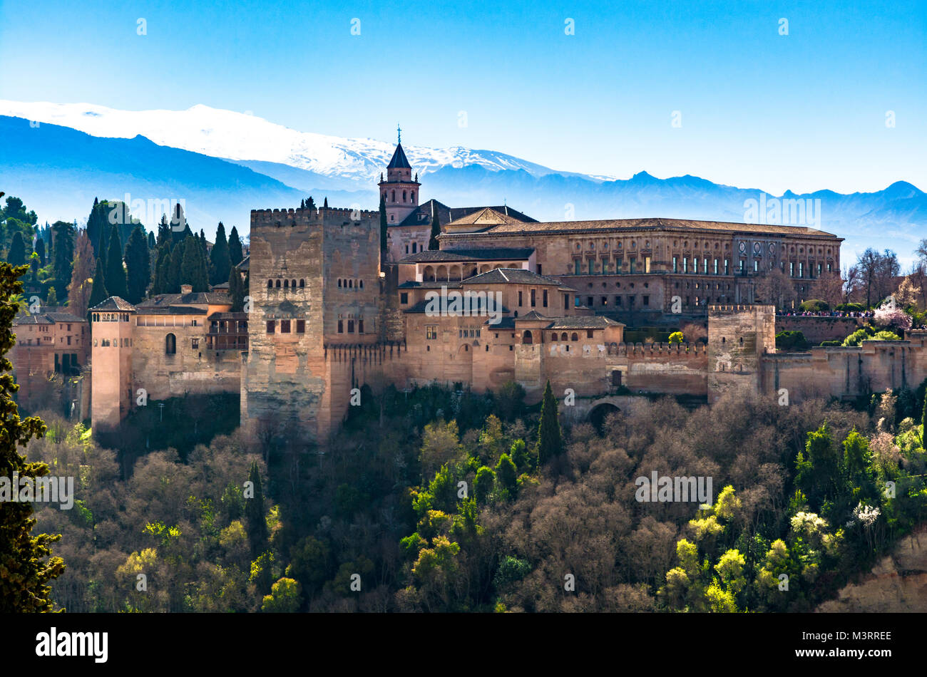 Granada, Spain: The Charles V (Carlos V) royal palace part of the Alhambra palace and fortress complex. - Stock Image