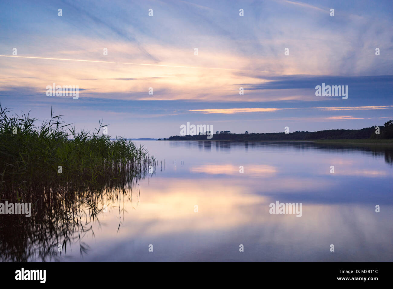 Lake Selent, Northern Germany, Schleswig-Holstein. Summer Sunset - Stock Image