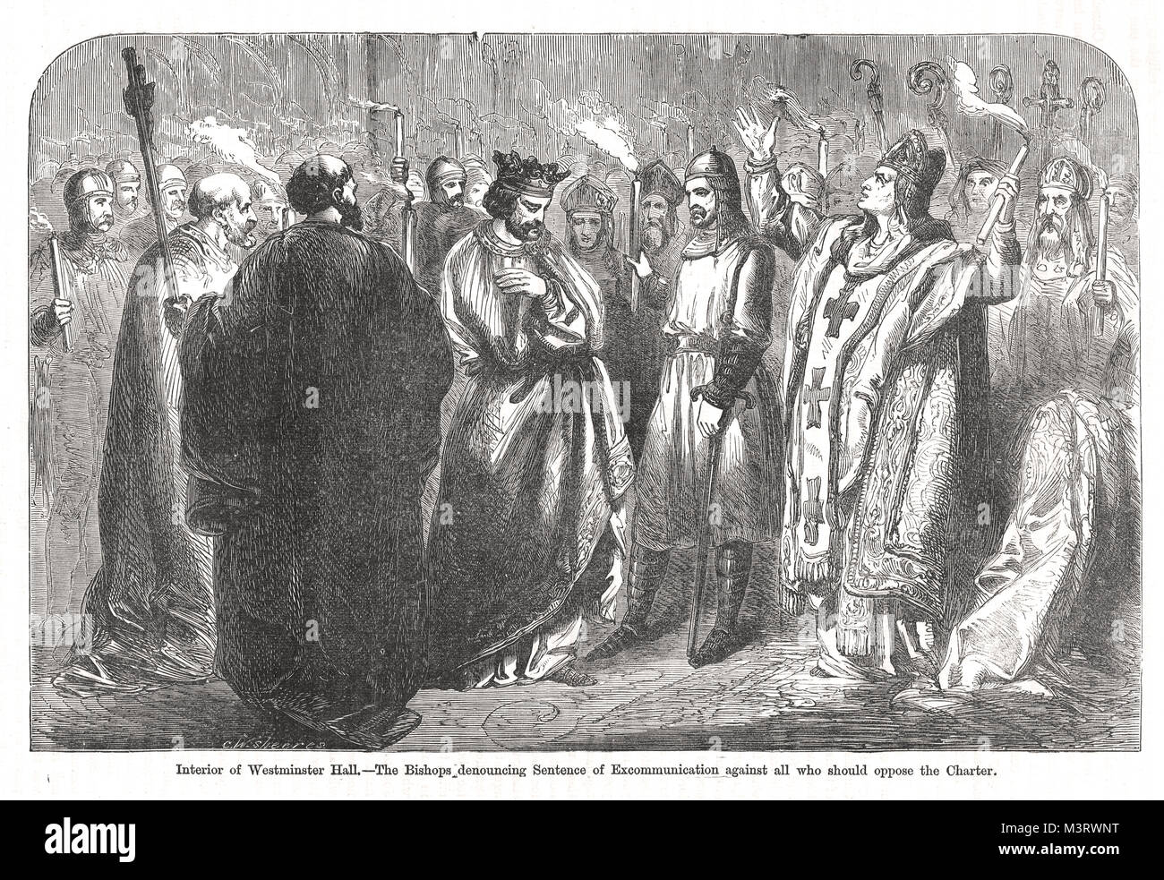 Bishops in Westminster Hall, denouncing the papal sentence of excommunication, forcing Henry III to reaffirm the - Stock Image