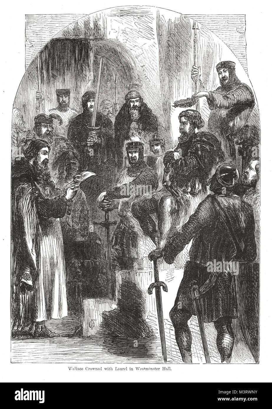 William Wallace crowned with Laurel at his trial for treason in Westminster Hall, London, August 1305. The garland - Stock Image