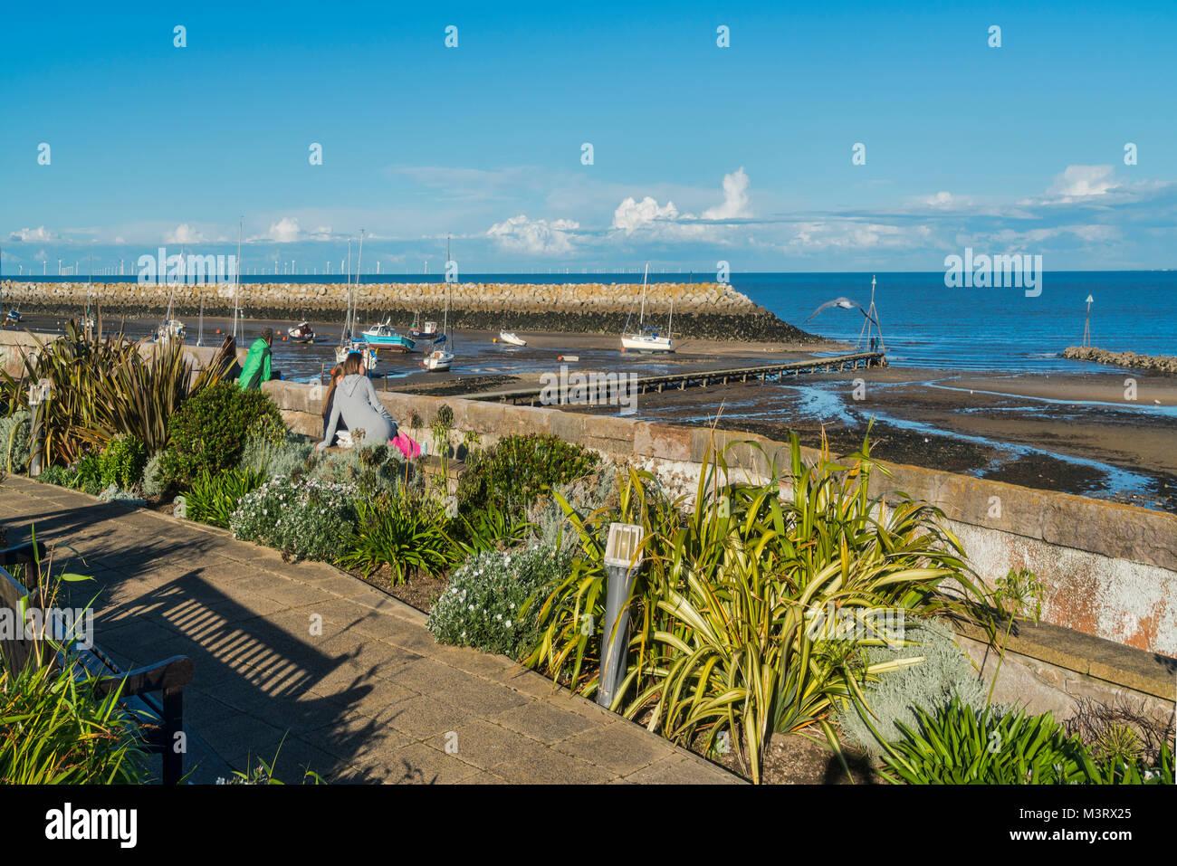 Promenade gardens, Rhos on Sea, Colwyn Bay, seafront, north Wales, UK - Stock Image