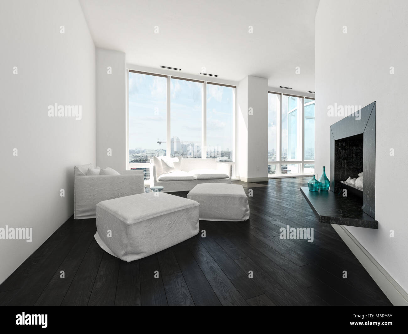 Modern minimalist white living room interior with an upholstered ...
