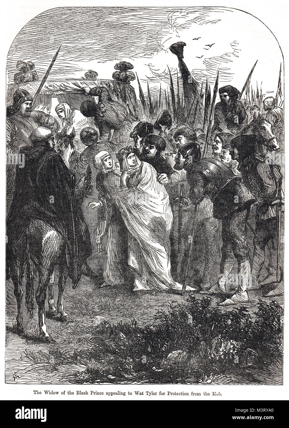 Joan of Kent, Widow of the Black Prince, appealing to Wat Tyler, asking for protection from the mob during the Peasants' - Stock Image