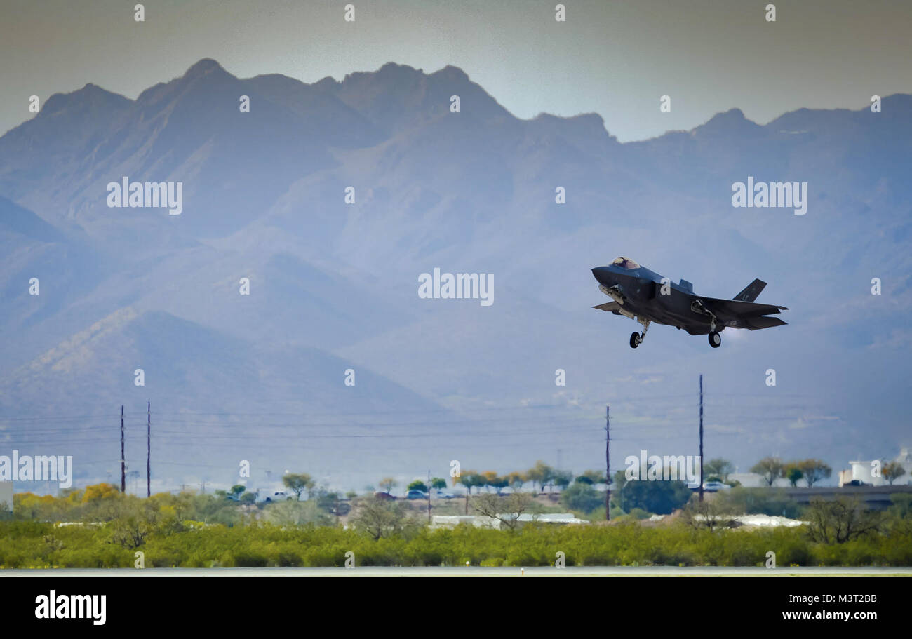 An F-35 Lightening II takes off from Davis-Monthan Air Force Base on March 4, 2016. The F-35 was participating in Stock Photo
