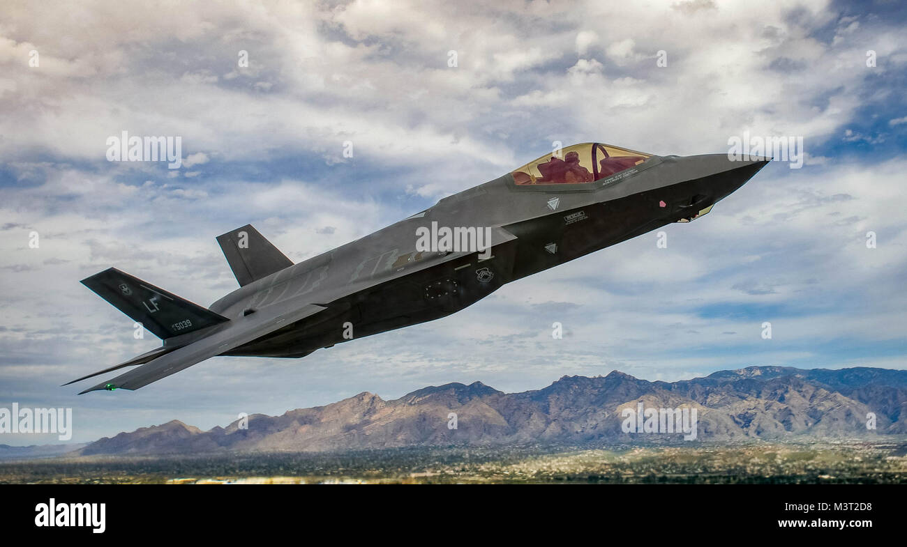 An F-35 Lightening II flies around the airspace of Davis-Monthan Air Force Base on March 5, 2016. The F-35 was participating Stock Photo