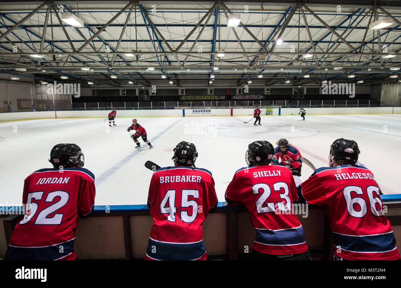 d8c965ec3 Members of the Kaiserslautern Military Community Eagles Hockey Team wait  their turn to practice on the ice rink sideline in Zweibrucken