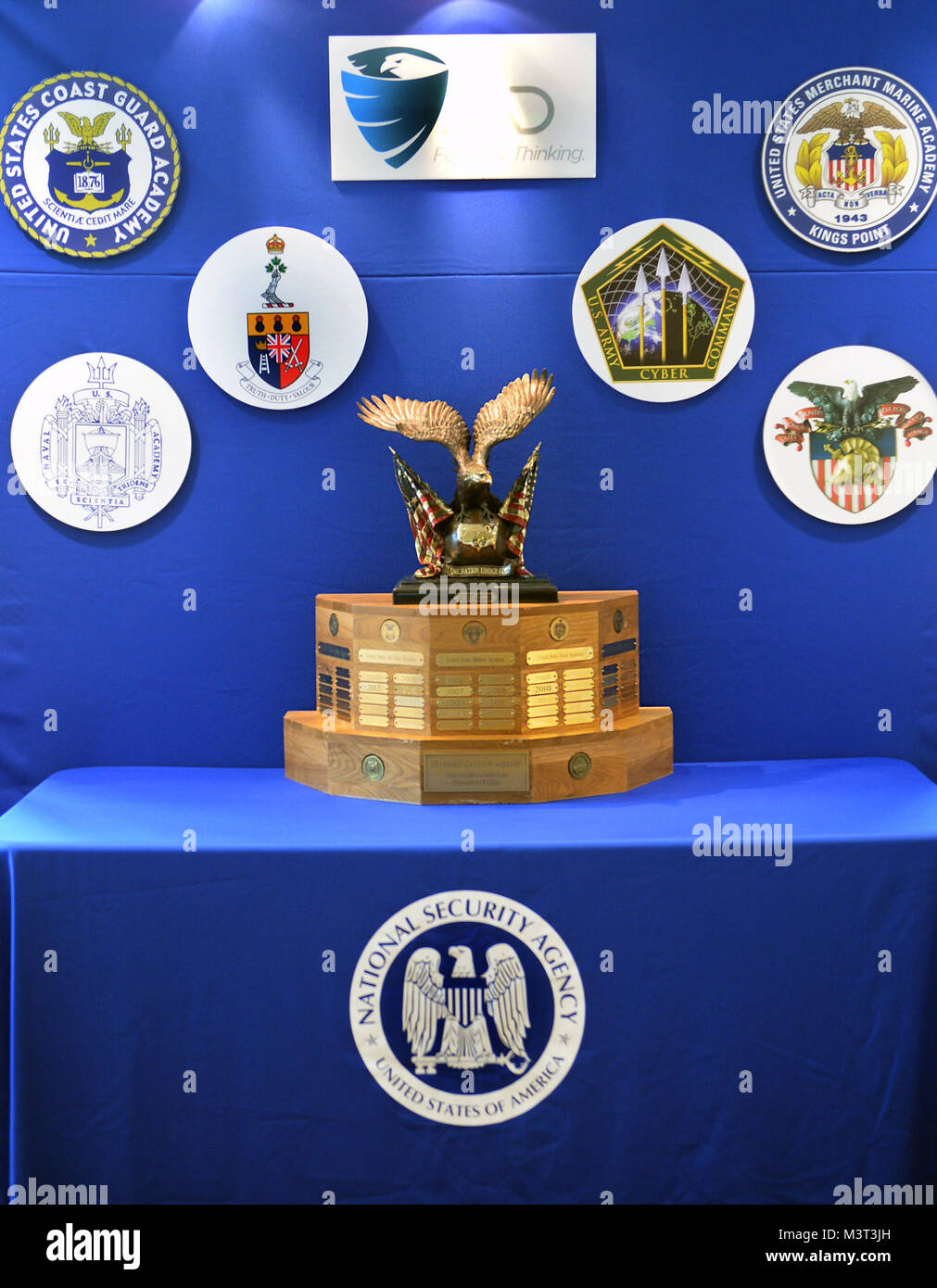 """The National Security Agency's """"Assurance Trophy"""" awarded to the winner of the Cyber Defense Exercise.  The National Stock Photo"""