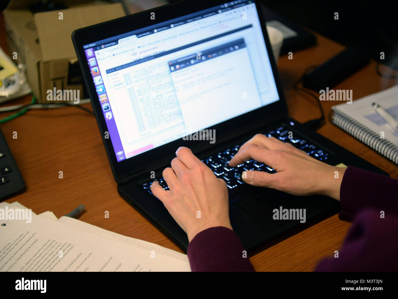 Red Cell hacks and attacks during Cyber Defense Exercise operations at the Parsons Building located in Columbia, Stock Photo