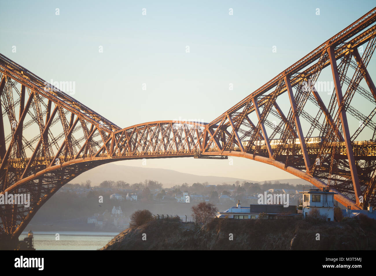 Close of a section of the Forth Railway Bridge, North Queensferry Fife - Stock Image