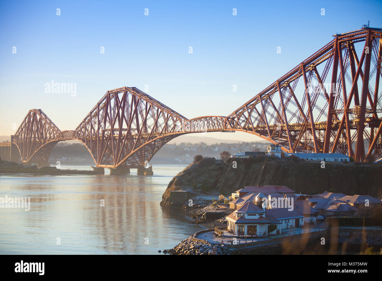 The Forth Bridge early morning from North Queensferry Fife Scotland - Stock Image