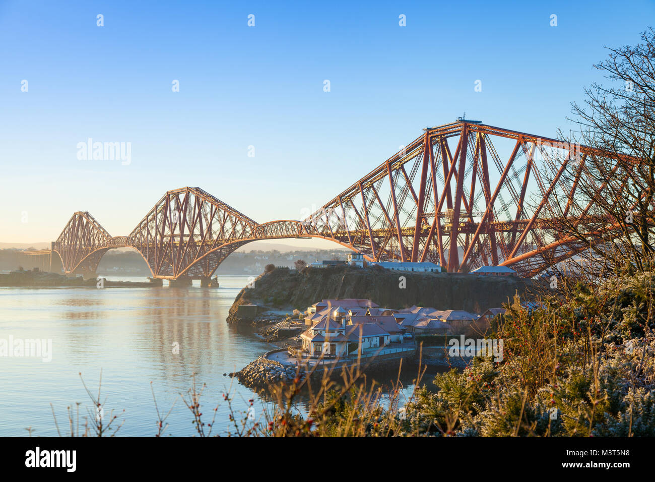 The Forth Bridge early morning from North Queensferry Fife Scotland Stock Photo