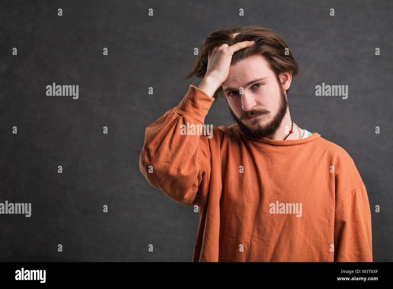 Portrait of Stressed Man - Stock Image