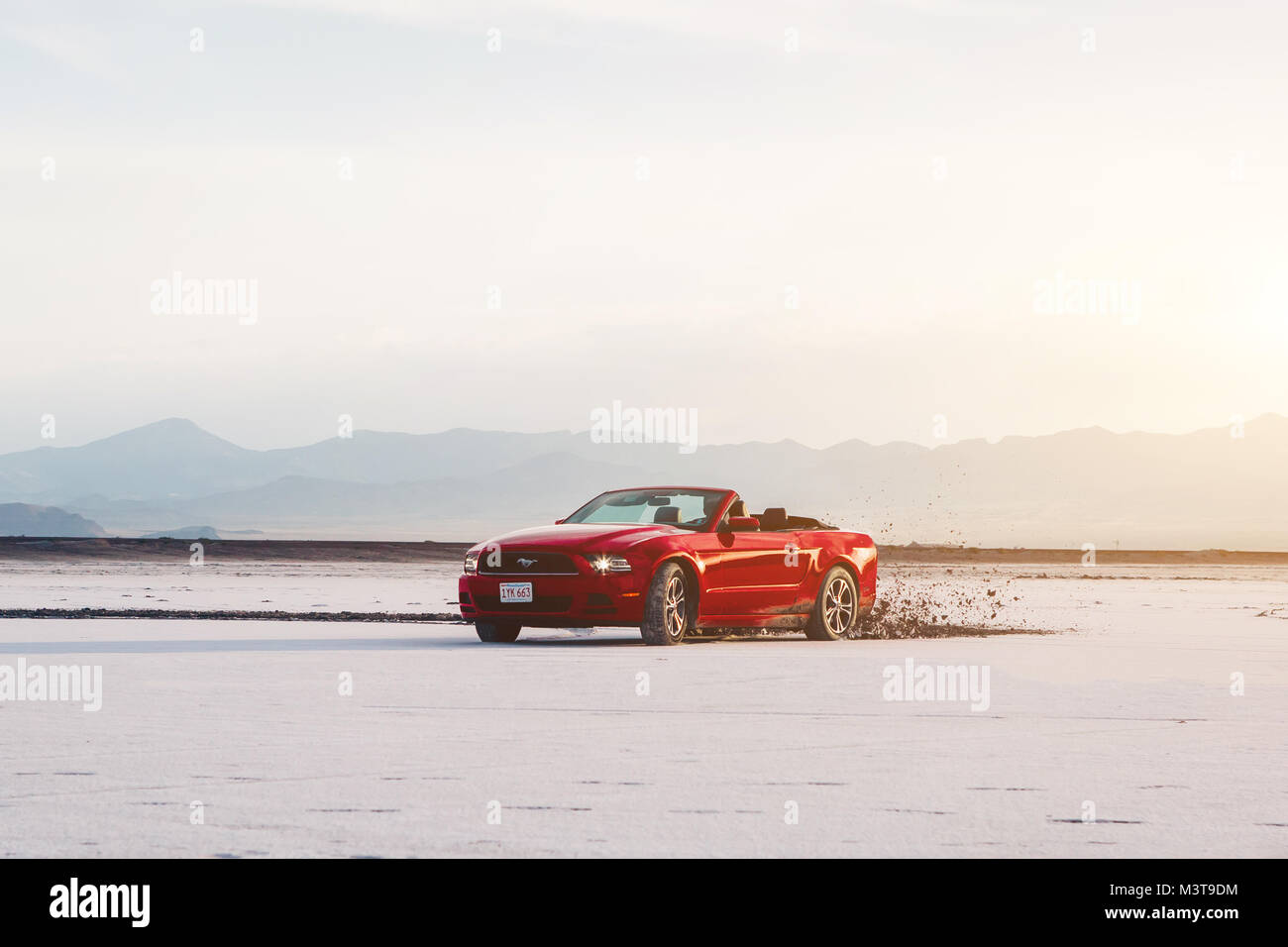 BONNEVILLE ,UTAH, USA JUNE 4, 2015: Photo of a Ford Mustang Convertible 2012 version at Bonneville Salt Flats,Utah,USA. Stock Photo