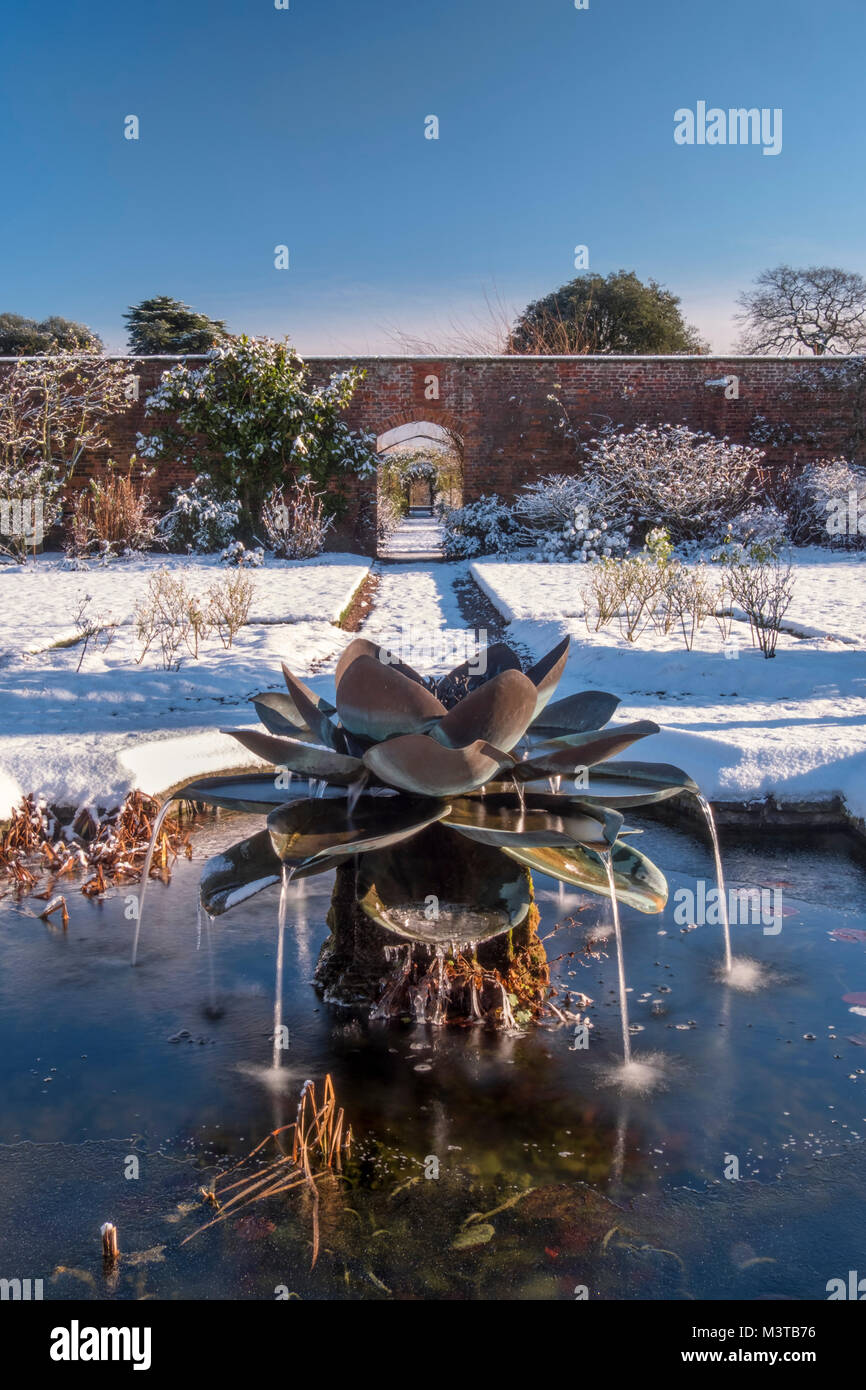 The Walled Garden in winter, Arley Hall and Gardens, Arley, Cheshire, England, UK - Stock Image