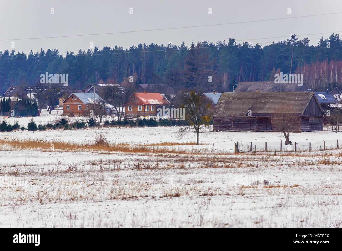 Soce village on so called The Land of Open Shutters trail, famous for its traditional architecture in Podlaskie - Stock Image