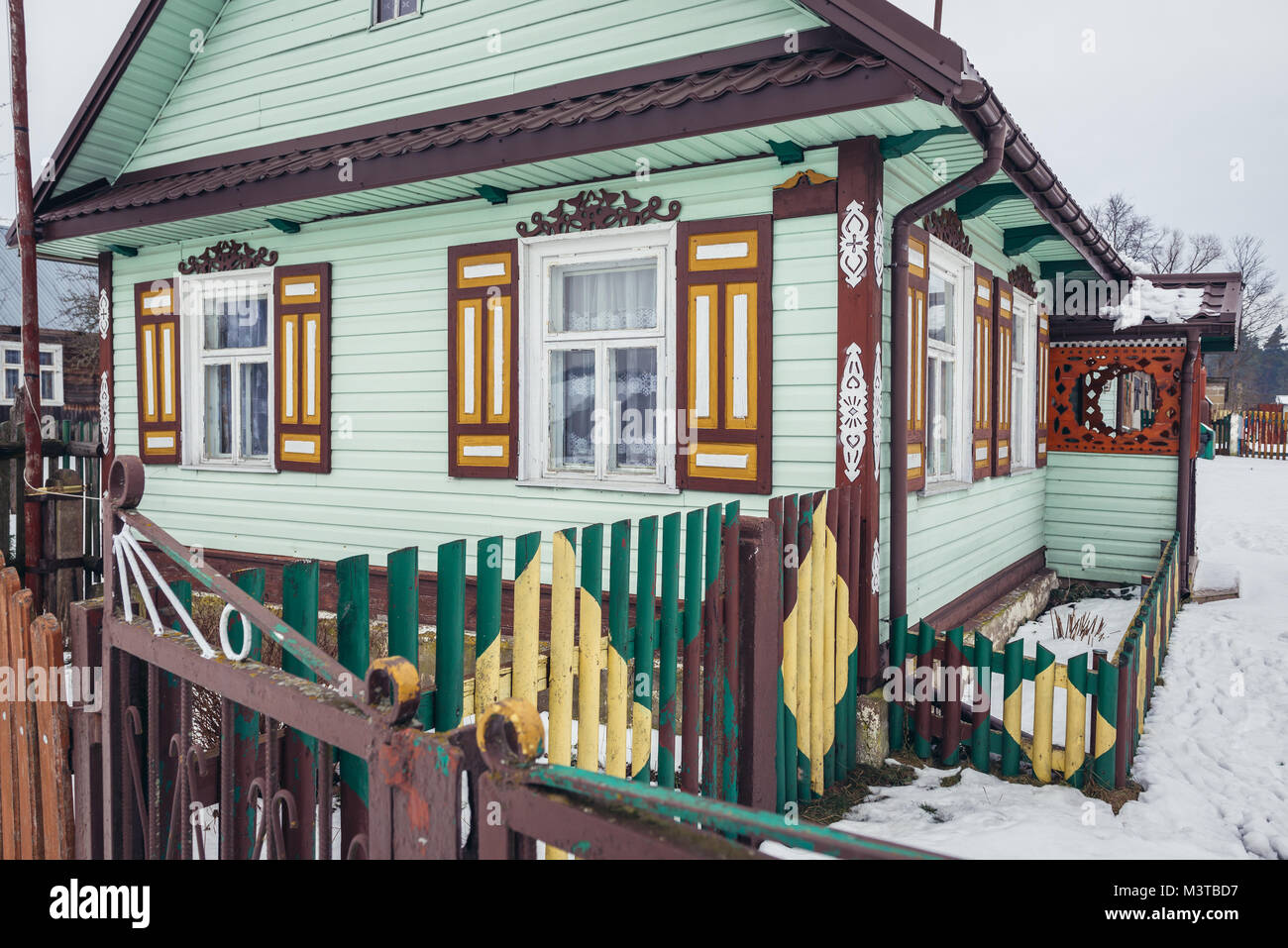 Decorated house in Soce village on so called The Land of Open Shutters trail, famous for traditional architecture - Stock Image