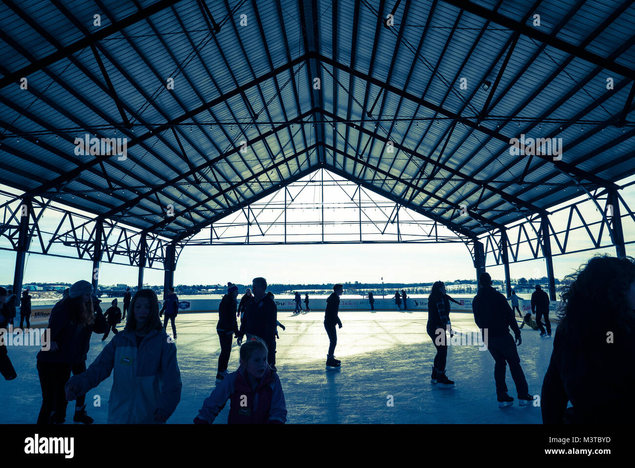 Ice Arena at Thompson's Point in Portland, Maine - Stock Image