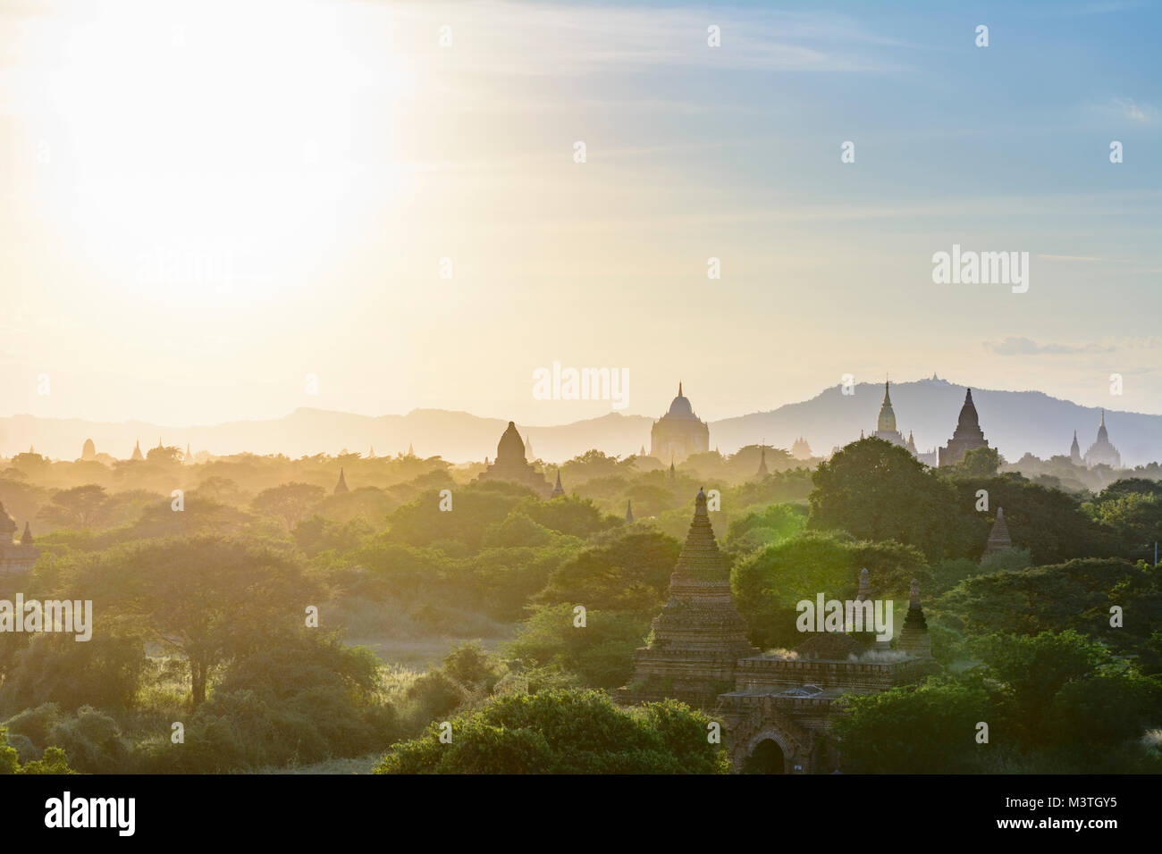 Bagan: Thatbyinnyu Temple, Ananda Temple, temples in Old Bagan, stupa Tan Kyi Paya atop mountain, , Mandalay Region, - Stock Image