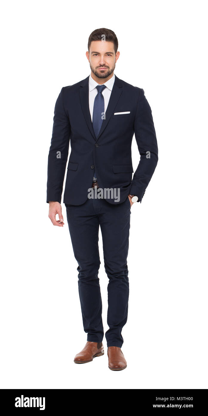 Young caucasian businessman in formal wear isolated on white - Stock Image