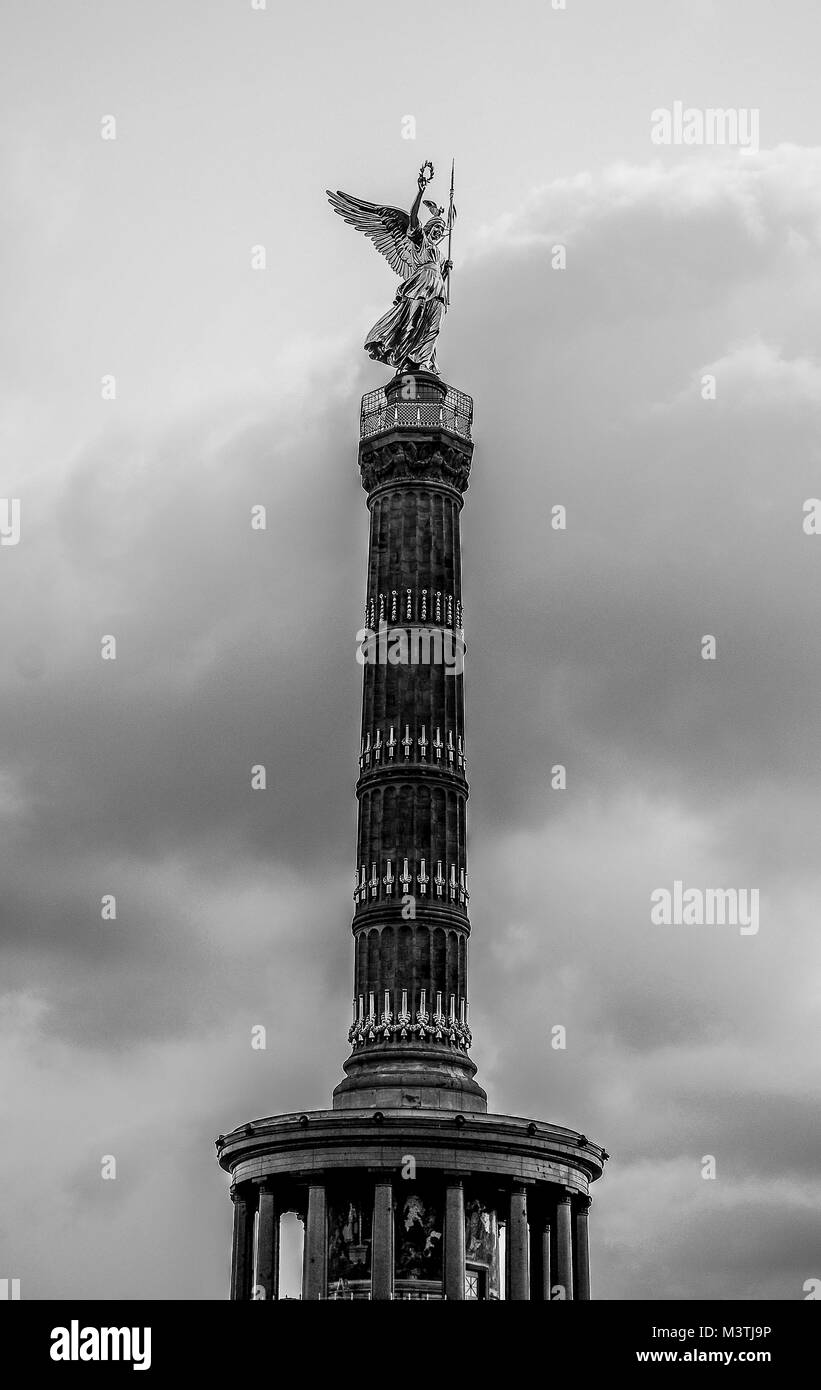 BERLIN-APRIL: The Berlin victory column( Siegessaule ) as seen from the Tiergarten,Berlin,Germany,on April 4,2011. - Stock Image