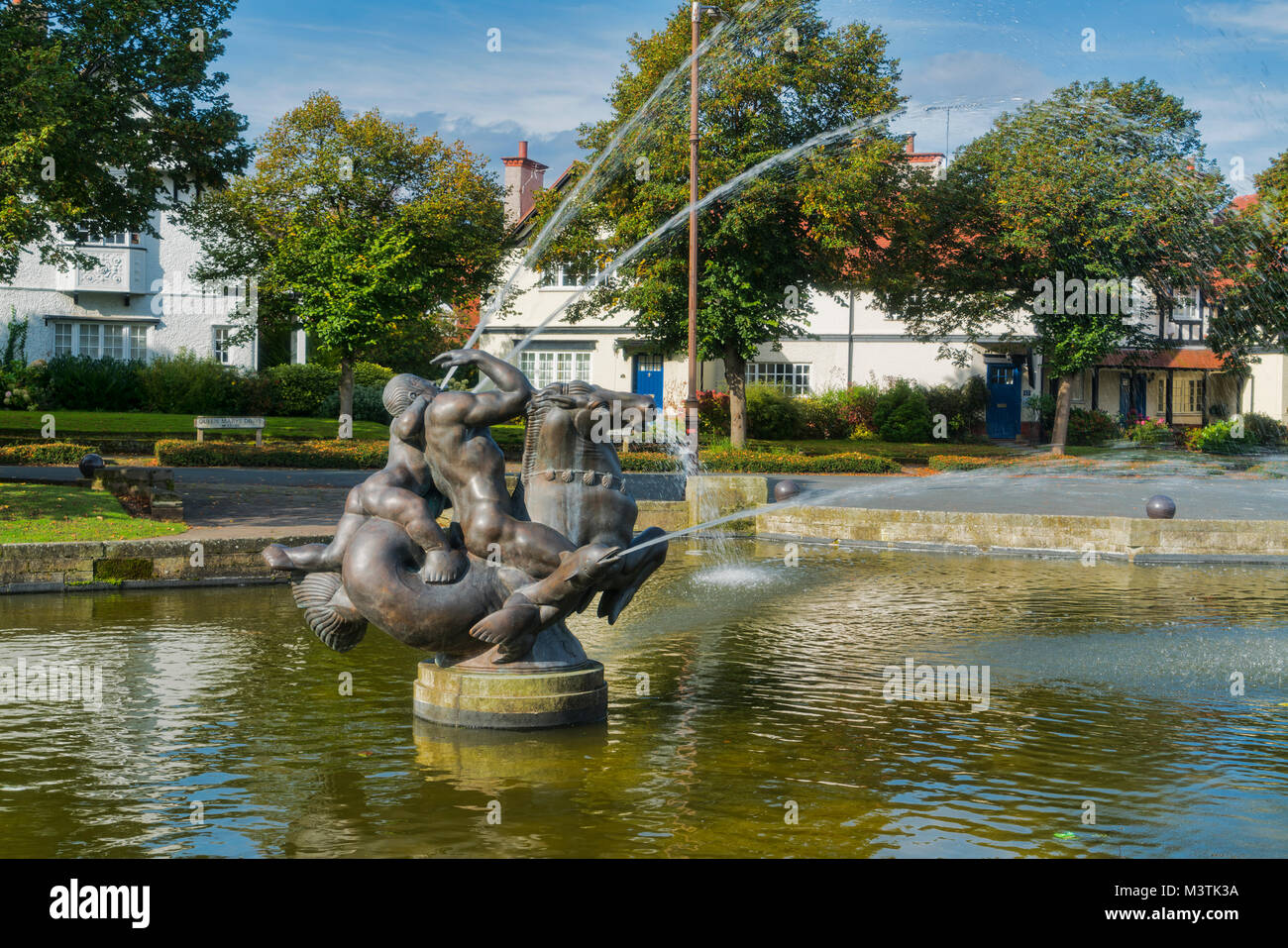 Fountain, Port Sunlight, Bebington, Wirral, Merseyside, UK - Stock Image