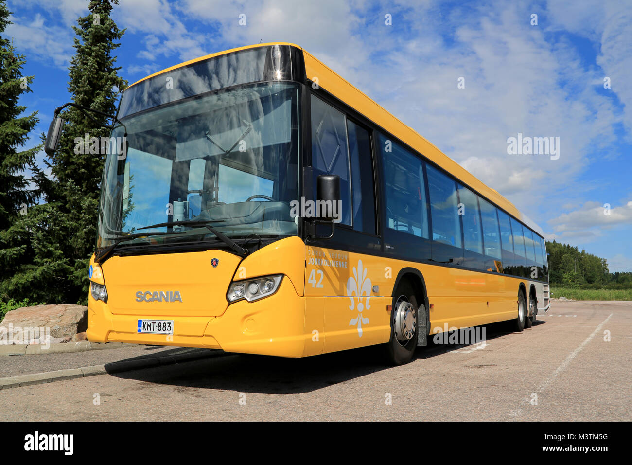Low Floor City Bus Stock Photos Scania Irizar Wiring Diagram Paimio Finland July 19 2014 Yellow Citywide Waits For Passengers