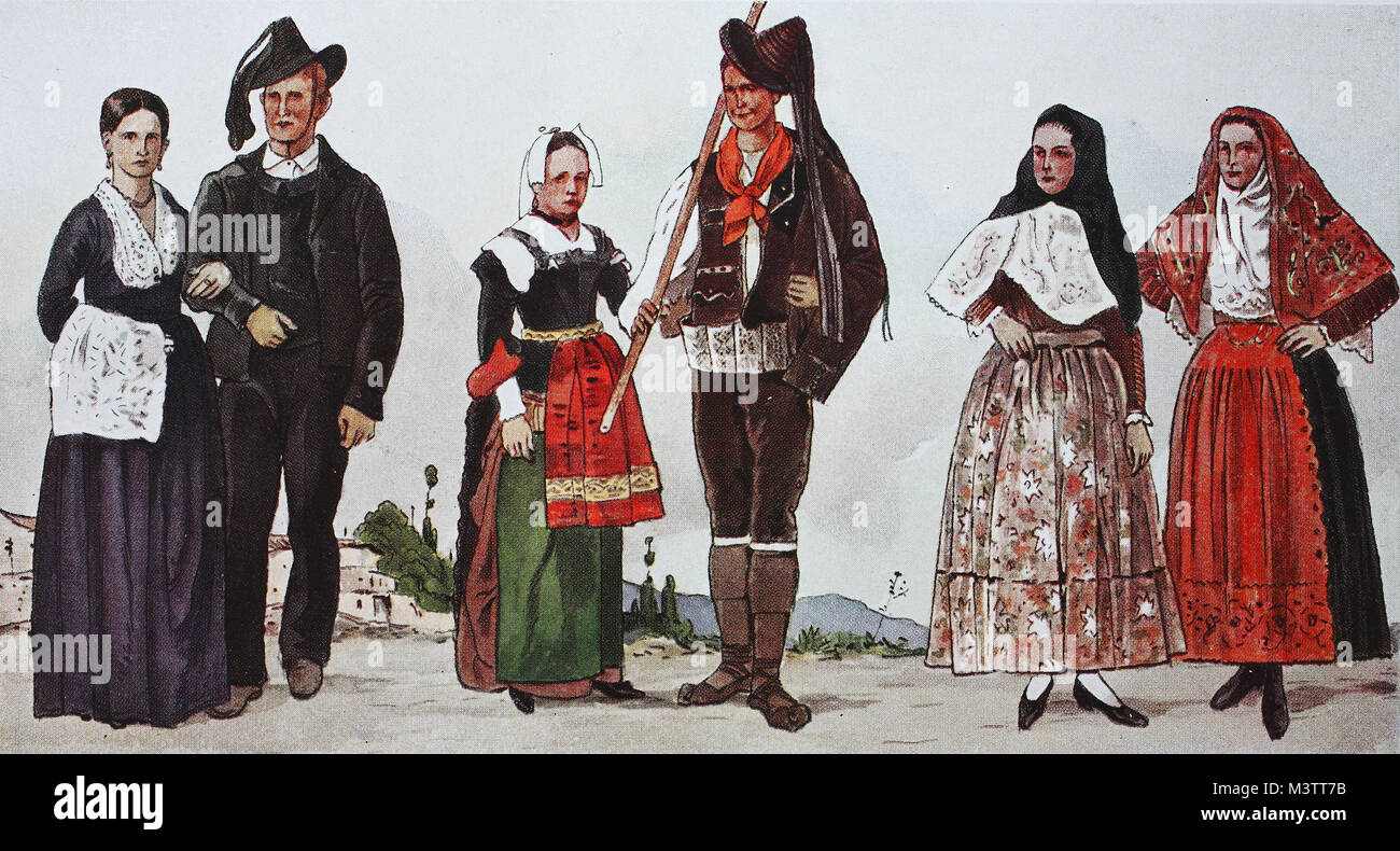 Fashion, clothing in Italy in the modern era, the 18th and 19th centuries, from the left, couple from the area of - Stock Image
