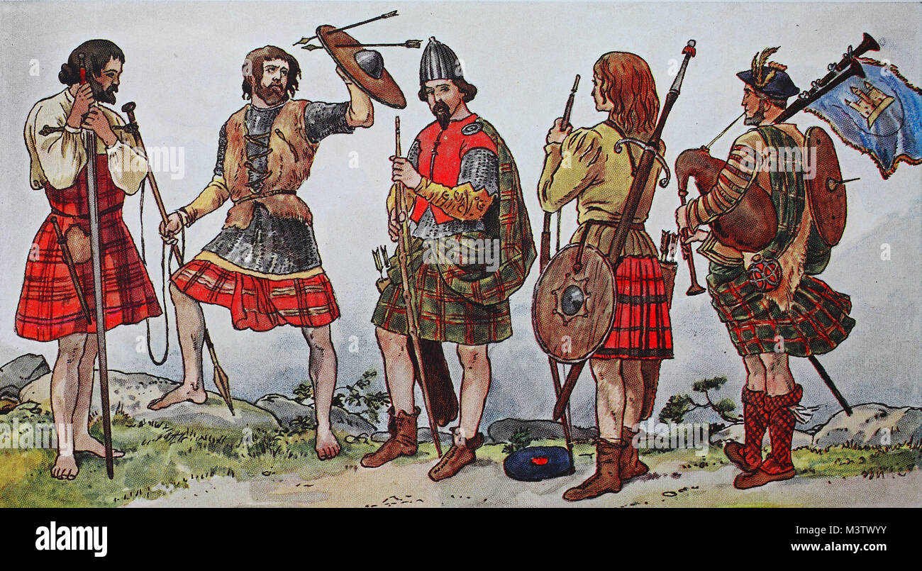 Fashion, costumes, clothing in Scotland, from the left, late medieval costume of the Clan Dugal, then costume of - Stock Image