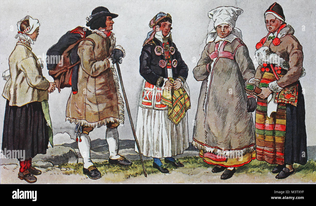 Fashion, clothes, costumes in Sweden around the 19th century, from the left, a woman from Mora on Lake Siljan, then - Stock Image